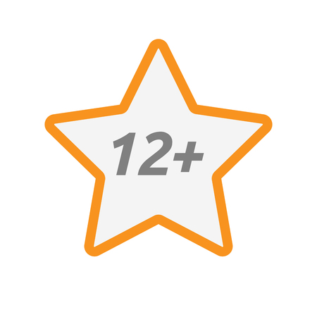12: Illustration of an isolated line art star icon with    the text 12+