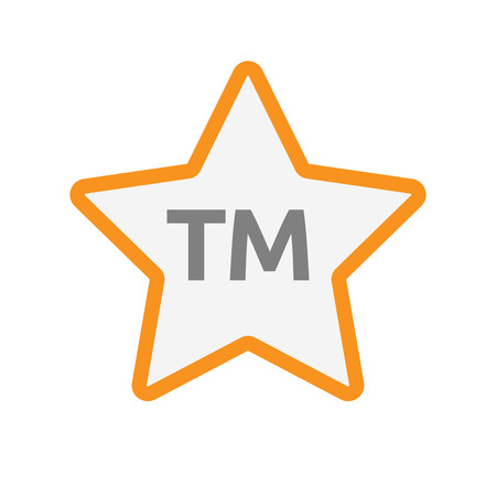 Illustration of an isolated line art star icon with    the text TM