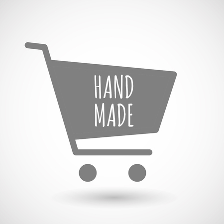 hopping: Illustration of an isolated hopping cart icon with    the text HAND MADE Illustration