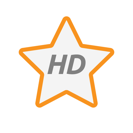 Illustration of an isolated line art star icon with    the text HD Illustration