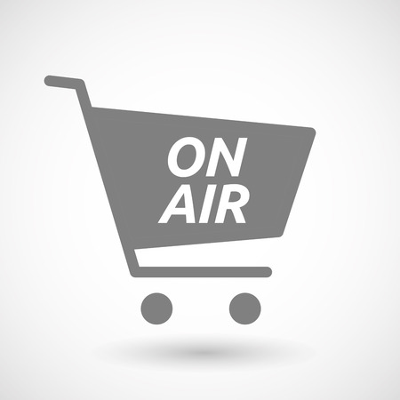 hopping: Illustration of an isolated hopping cart icon with    the text ON AIR Illustration
