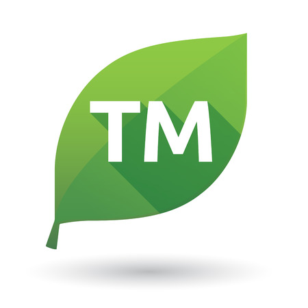 Illustration of an isolated green leaf ecological icon with    the text TM