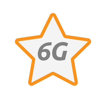 Illustration of an isolated line art star icon with    the text 6G