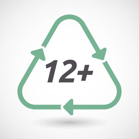 Illustration of an isolated green ecological recycle sign with    the text 12+ Illustration