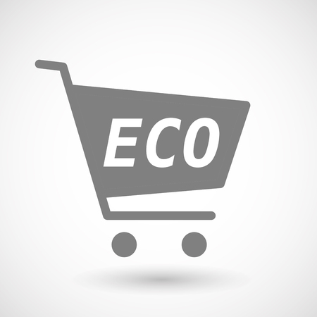 hopping: Illustration of an isolated hopping cart icon with    the text ECO