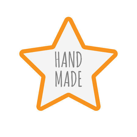 Illustration of an isolated line art star icon with    the text HAND MADE
