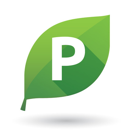 Illustration of an isolated green leaf ecological icon with    the letter P Illustration