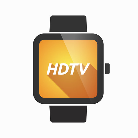 hdtv: Illustration of an isolated smart watch icon with    the text HDTV