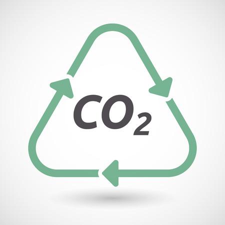 텍스트와 함께 격리 된 녹색 생태 재활용 기호 그림 CO2 일러스트