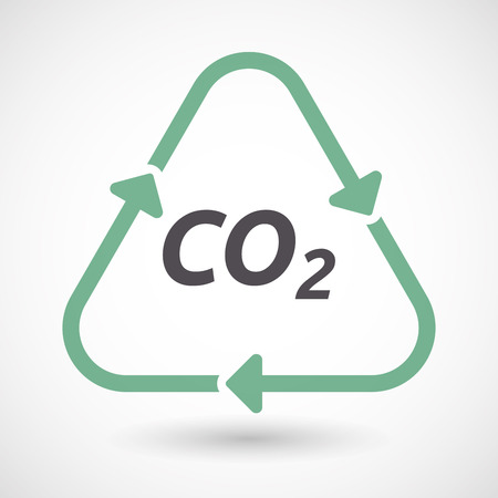 Illustration of an isolated green ecological recycle sign with    the text CO2 Illustration