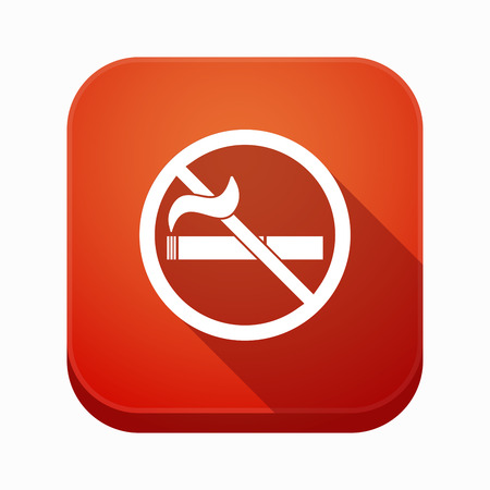 Illustration of an isolated long shadow square app button with  a no smoking sign