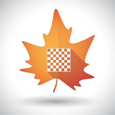 Illustration of an isolated long shadow orange leaf of autumn with  a chess board