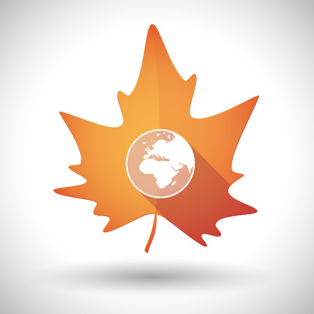 flat earth: Illustration of an isolated long shadow orange leaf of autumn with   an Asia, Africa and Europe regions world globe