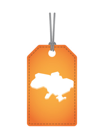 Illustration of an isolated product label with  the map of Ukraine
