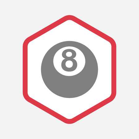pool ball: Illustration of an isolated hexagonal line art pictogram with  a pool ball Illustration