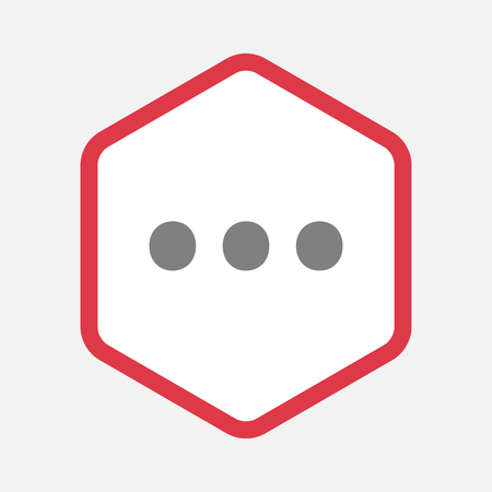 ellipsis: Illustration of an isolated hexagonal line art icon with  an ellipsis orthographic sign