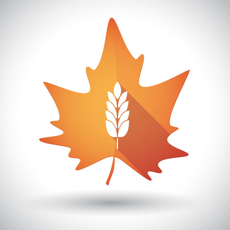 Illustration of an isolated long shadow orange leaf of autumn with  a wheat plant icon