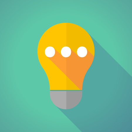 ellipsis: Illustration of a long shadow yellow light bulb with  an ellipsis orthographic sign