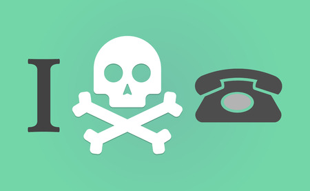 Illustration of an I dont like hieroglyph with  a retro telephone sign Illustration
