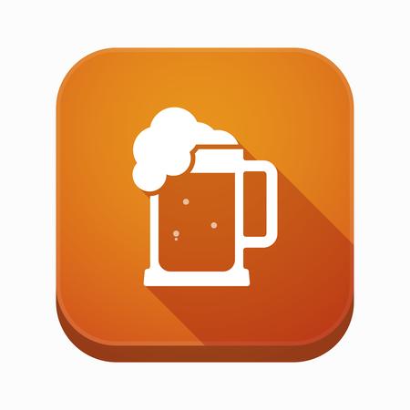 jarra de cerveza: Ilustración de una larga sombra botón aislado aplicación cuadrada con un icono de jarra de cerveza