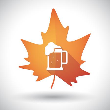 beer jar: Ilustración de un hecho aislado larga sombra naranja hoja de otoño con un icono de jarra de cerveza