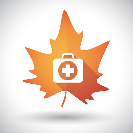 Illustration of an isolated long shadow orange leaf of autumn with  a first aid kit icon