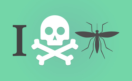 Illustration of an I dont like hieroglyph with  a mosquito