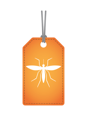 Illustration of an isolated product label with  a mosquito Illustration