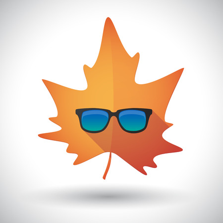 Illustration of an isolated long shadow orange leaf of autumn with  a sunglasses icon