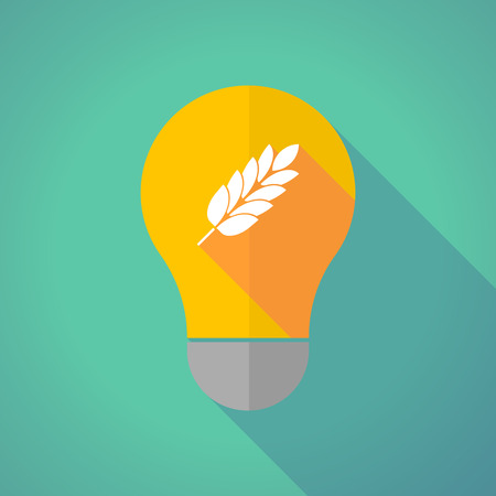Illustration of a long shadow yellow light bulb with  a wheat plant icon