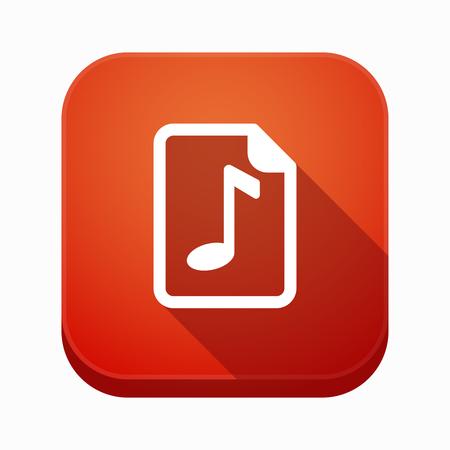 musique partition: Illustration d'une longue ombre carrée app icône isolé avec un score de musique