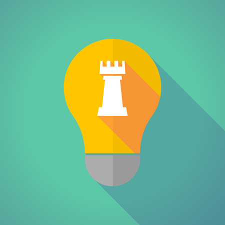 chess rook: Illustration of a long shadow yellow light bulb with a  rook   chess figure