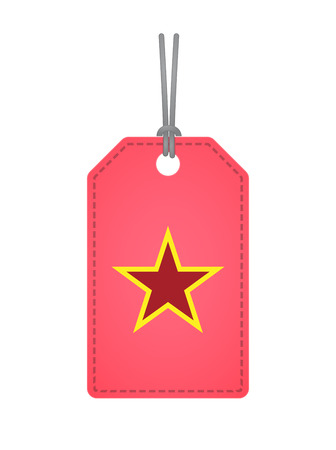Illustration of an isolated product label with  the red star of communism icon