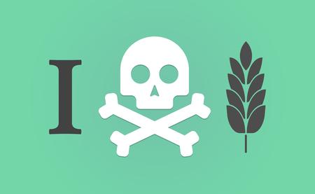 """intolerancia: Ilustración de un """"no me gusta"""" jeroglífico con un icono de la planta de trigo"""