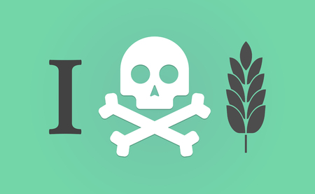 Illustration of an I dont like hieroglyph with  a wheat plant icon
