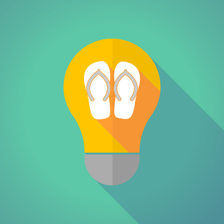 Illustration of a long shadow yellow light bulb with   a pair of flops
