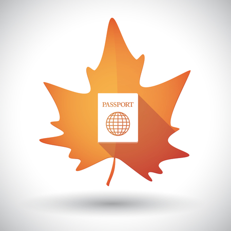 Illustration of an isolated long shadow orange leaf of autumn with  a passport