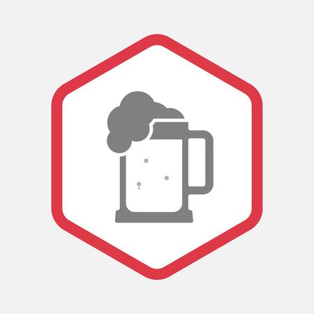 beer jar: Ilustración de un icono del arte hexagonal línea aislada con una jarra de cerveza Vectores