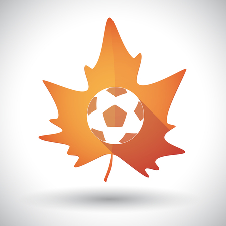 Illustration of an isolated long shadow orange leaf of autumn with  a soccer ball