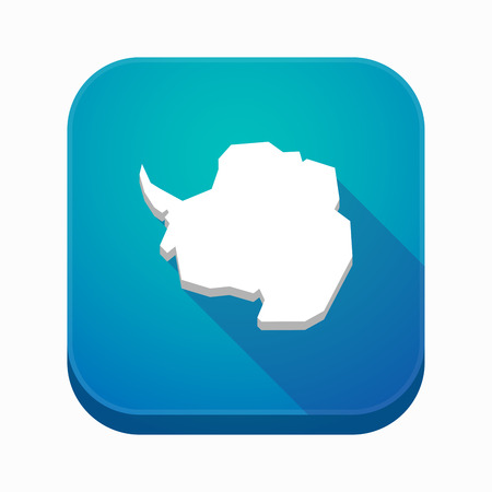 background antarctica: Illustration of an isolated long shadow square app icon with  the map of  Antarctica