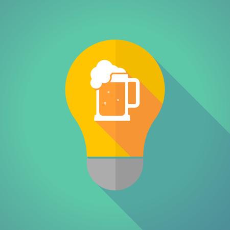 beer jar: Ilustración de una bombilla de luz amarilla sombra larga con un icono de jarra de cerveza Vectores