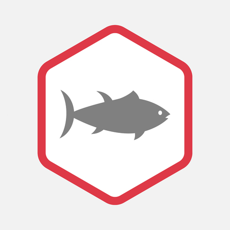 tuna fish: Illustration of an isolated hexagonal line art icon with  a tuna fish
