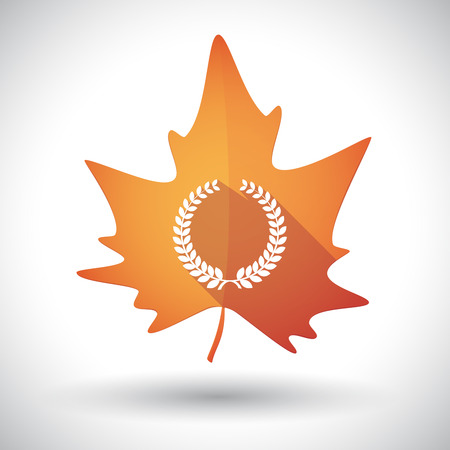 laurel leaf: Illustration of an isolated long shadow orange leaf of autumn with  a laurel crown sign
