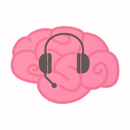 hands free phone: Illustration of an isolated brain with  a hands free phone device