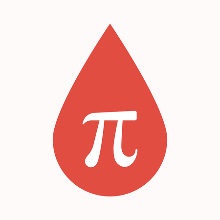 Illustration of an isolated blood drop sign with the number pi symbol