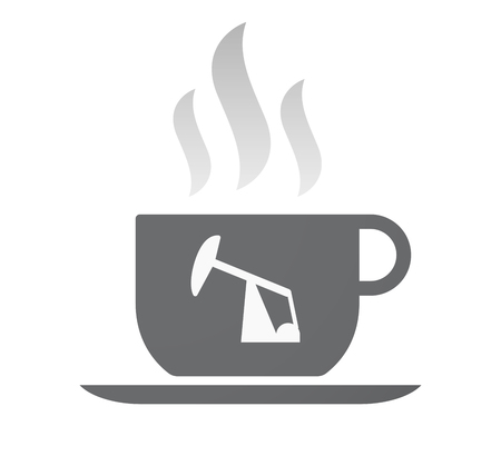 fuel rod: Illustration of an isolated coffee cup with a horsehead pump Illustration
