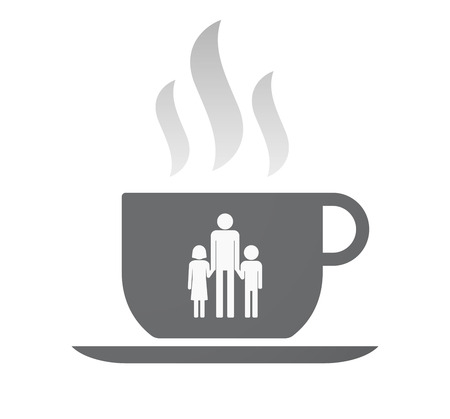 single parent family: Illustration of an isolated coffee cup with a male single parent family pictogram