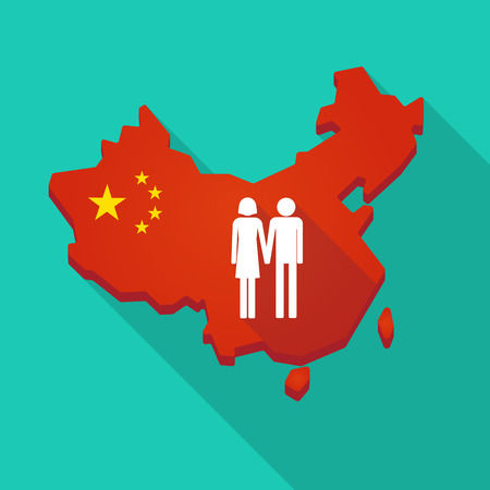 Illustration of a long shadow China map with a heterosexual couple pictogram