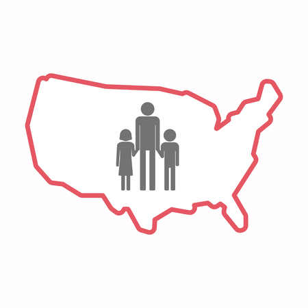 Illustration of an isolated line art map of USA with a male single parent family pictogram