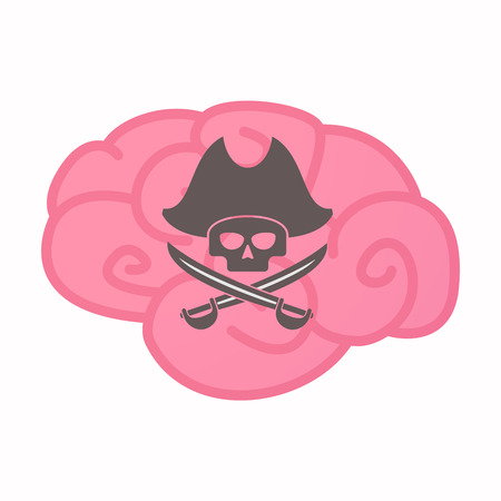 Illustration of an isolated brain with a pirate skull Illustration